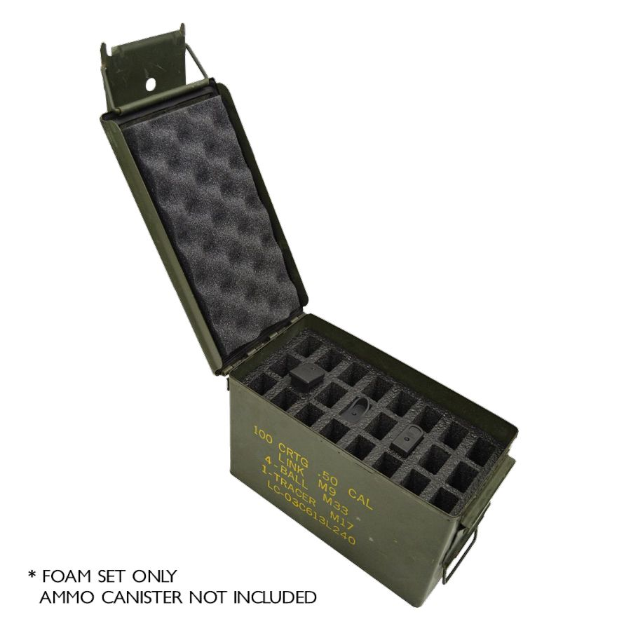24 Pistol Magazine foam insert for .50 Caliber Ammo Canister