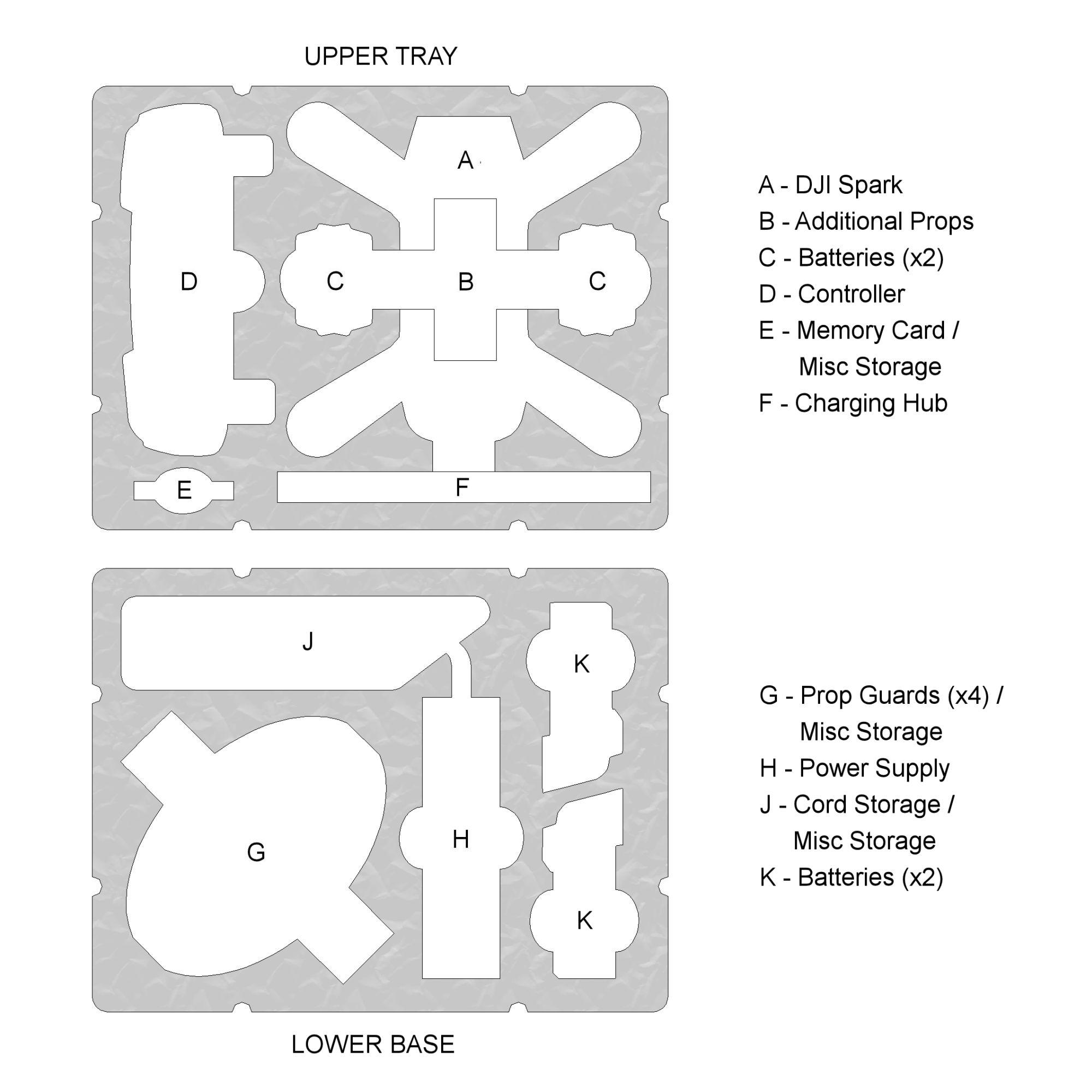 DJI Spark dual-level custom foam DORO D0907-6 case layout