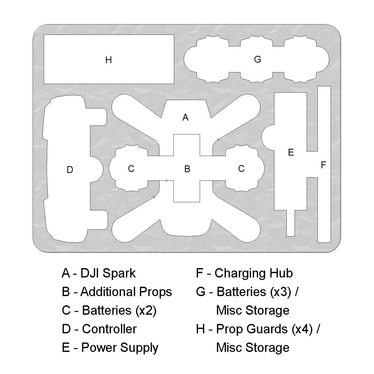 DORO Cases DJI Spark custom foam DORO D1109-5 case layout