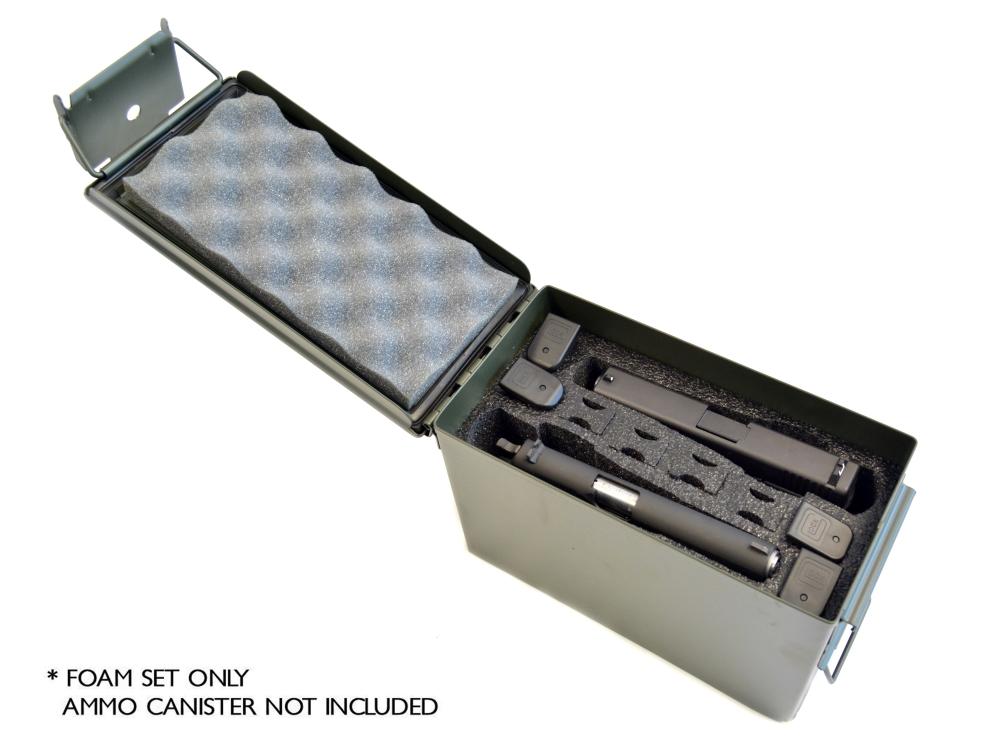 2 Pistol 8 Magazine foam insert for .50 Caliber Ammo Canister