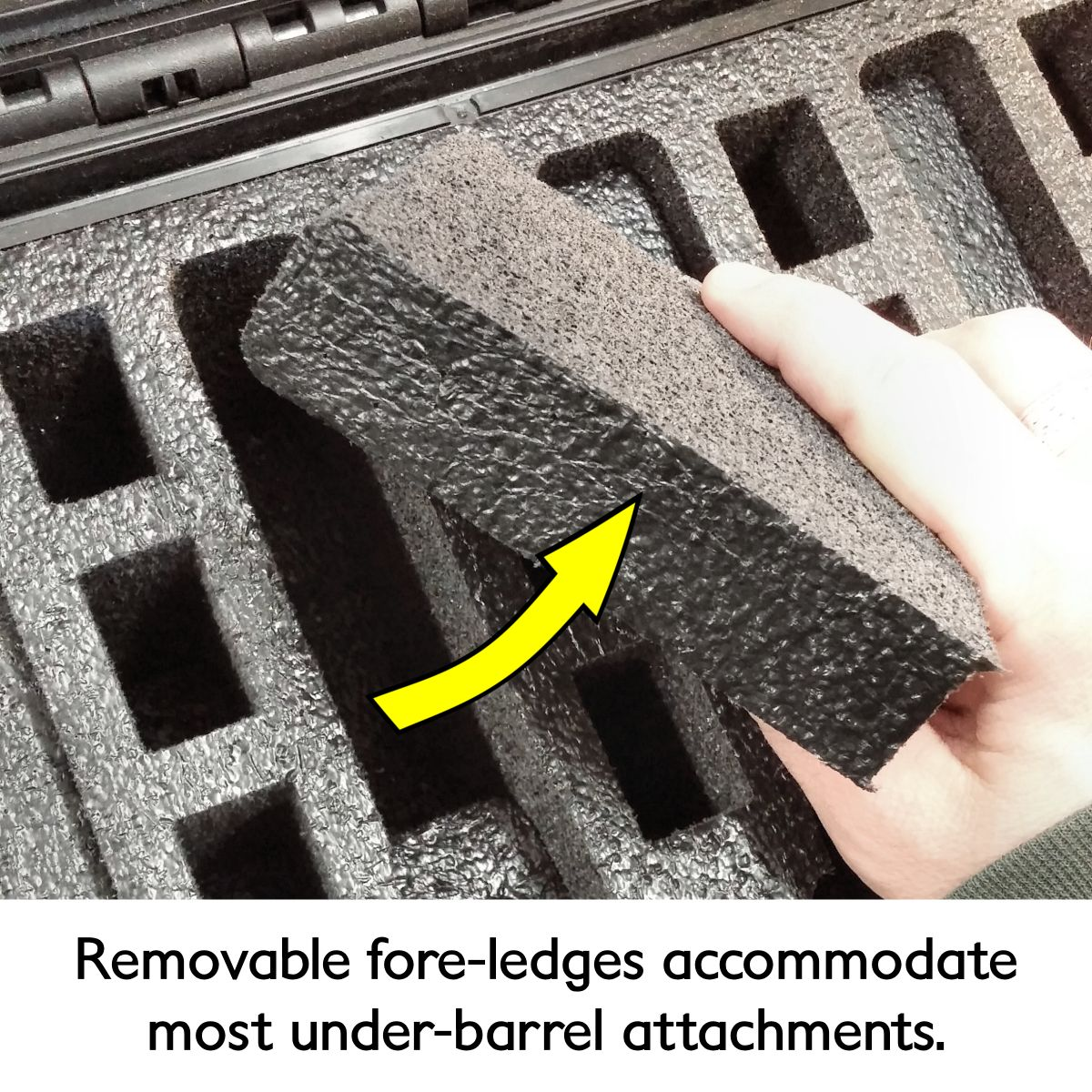 AG-D16116-0518PGD Removable fore-ledges accommodate most under-barrel attachments